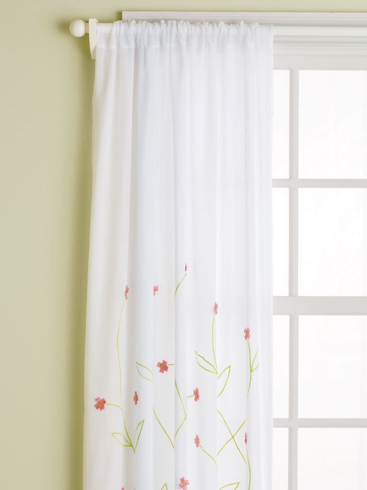 "84"" Hanging Garden Curtain Panel (Pink)"
