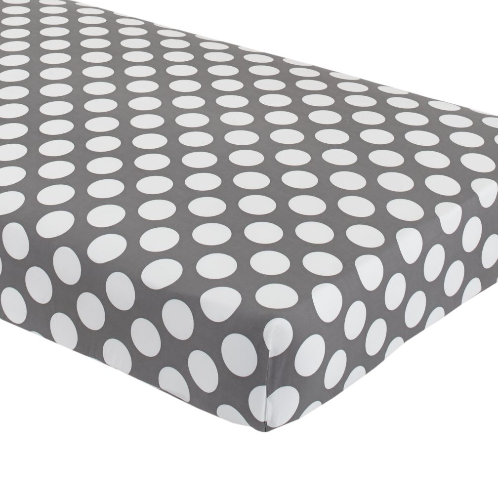 Crib Fitted Sheet (Grey with White Dot)