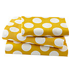 Twin Yellow w/White Dot Sheet Set(includes 1 fitted sheet, 1 flat sheet and 1 case)