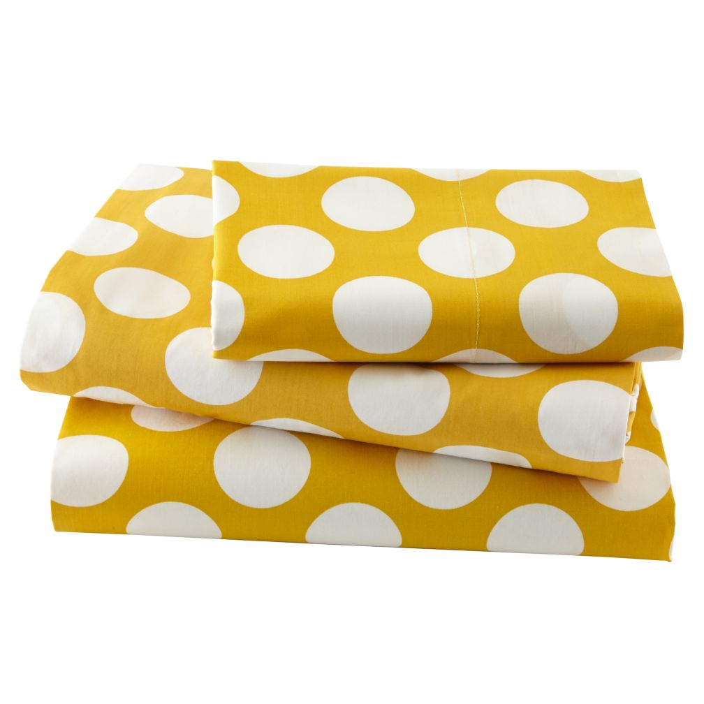 New School Yellow Dot Sheet Set (Twin)