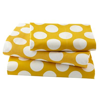 New School Yellow w/White Dot Sheet Set (Twin)