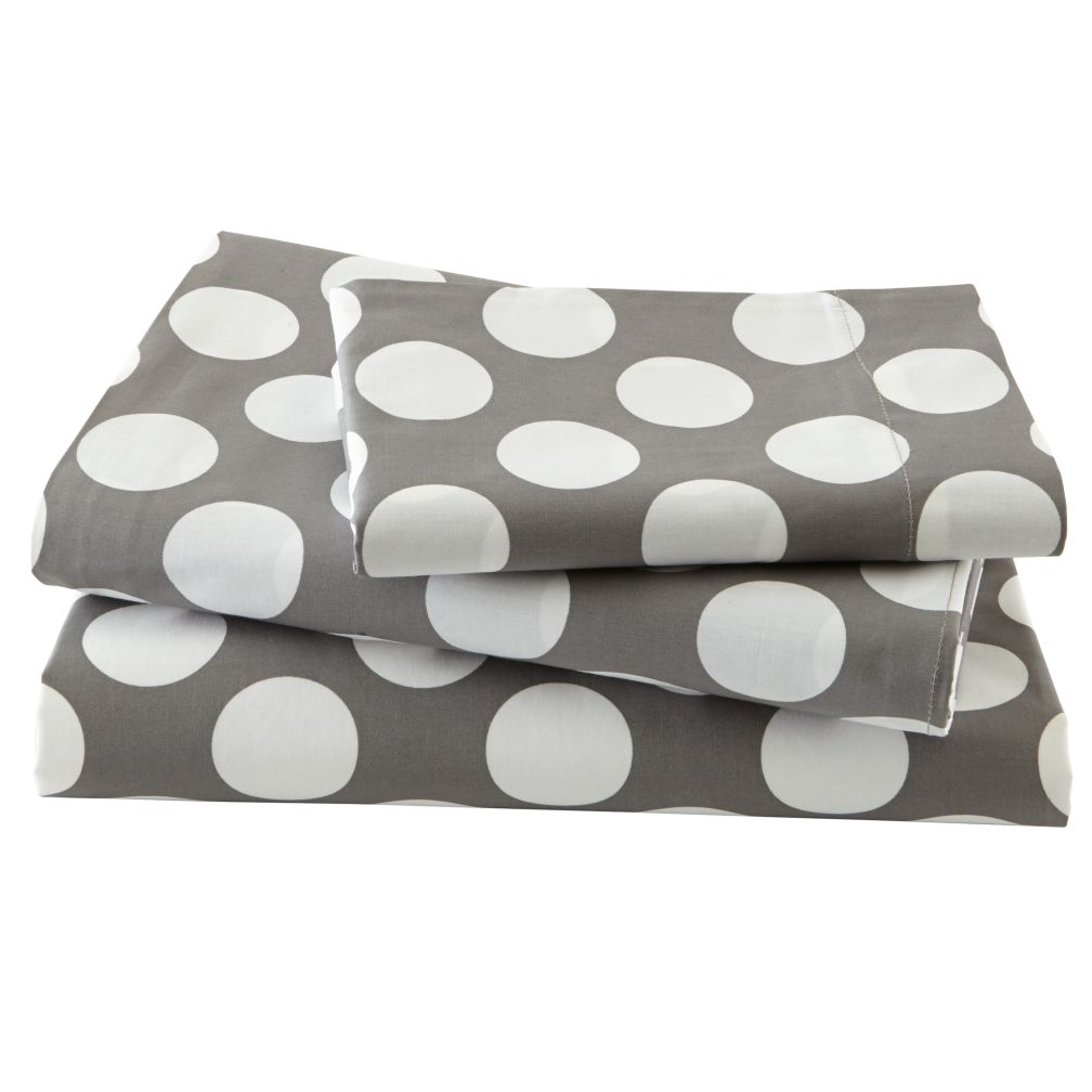 Twin Grey w/White Dot Sheet Set<br /><br />Includes fitted sheet, flat sheet and one pillowcase