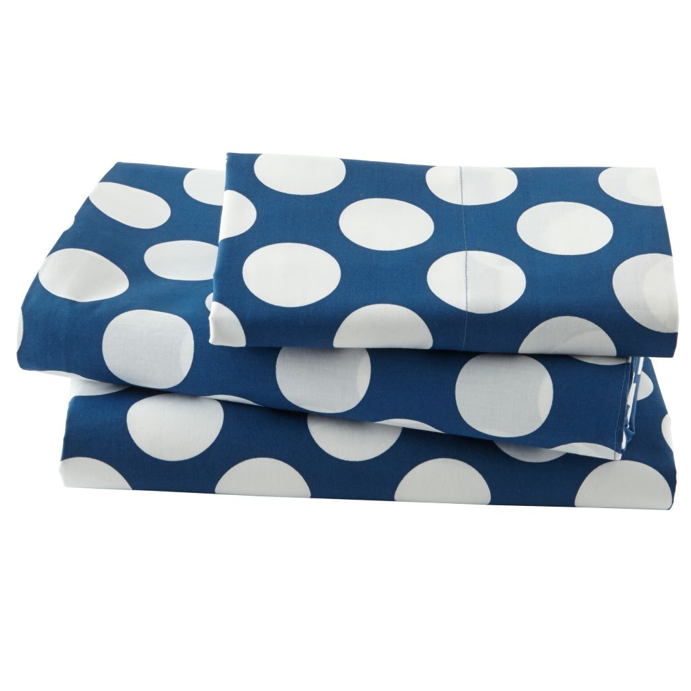 New School Blue Dot Sheet Set (Twin)