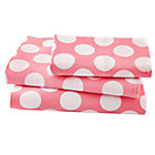 Twin Pink wWhite Dot Sheet Set(includes 1 fitted sheet, 1 flat sheet and 1 case)