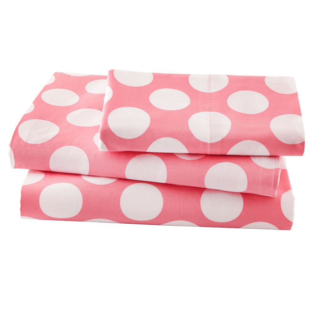 Twin Pink wWhite Dot Sheet Set<br /><br />Includes fitted sheet, flat sheet and one pillowcase