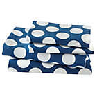 Queen Blue w/White Dot Sheet Set(includes 1 fitted sheet, 1 flat sheet and 2 cases)