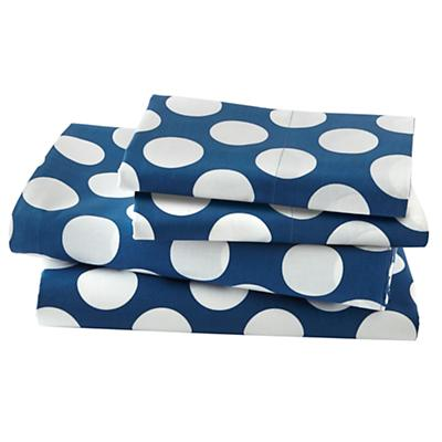 New School Blue w/White  Dot Sheet Set (Queen)