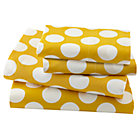 Queen Yellow w/White Dot Sheet Set(includes 1 fitted sheet, 1 flat sheet and 2 cases)