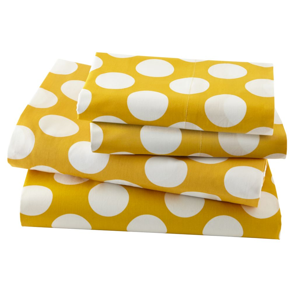 New School Yellow Dot Pillowcase in Sheet Sets | The Land of Nod