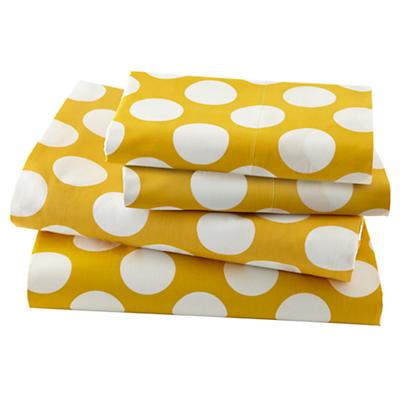 New School Yellow w/White Dot Sheet Set (Queen)