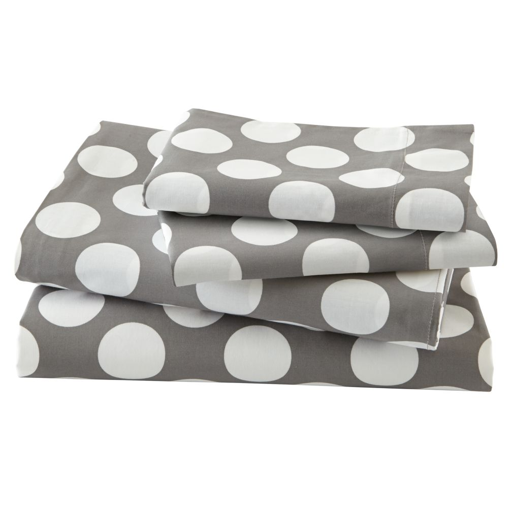 New School Grey w/White Dot Sheet Set (Full)