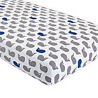 Grey & Blue Whale Crib Fitted Sheet