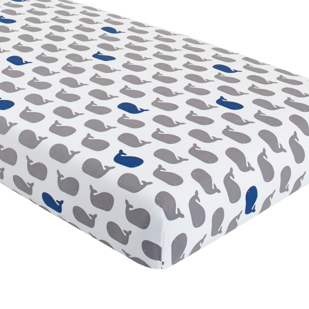 New School Crib Fitted Sheet (Whale)