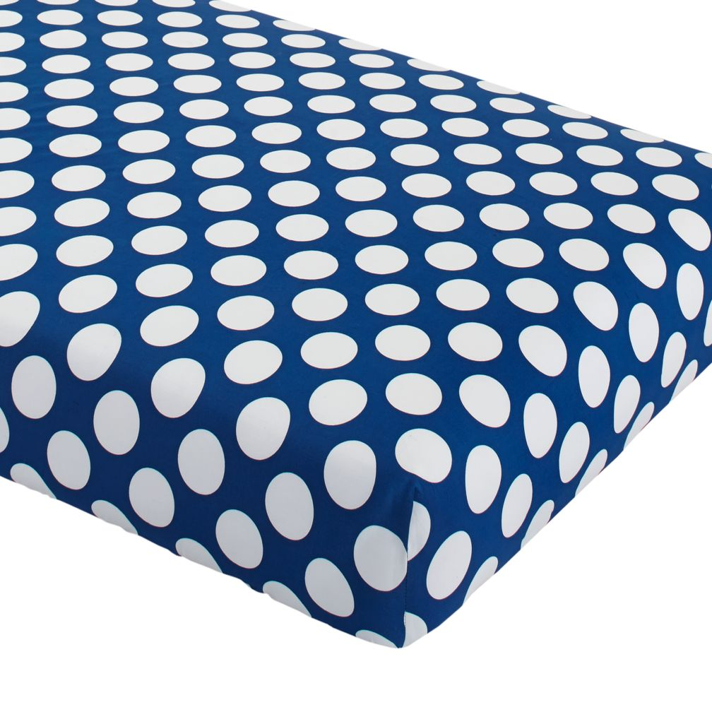Make a Splash Crib Fitted Sheet (Blue with White Dot)