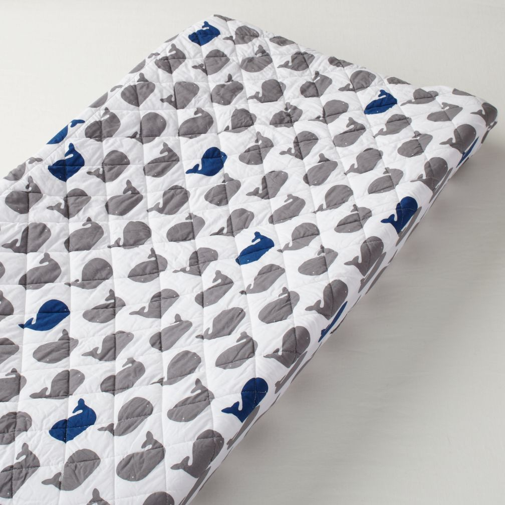 New School Changing Pad Cover (Whales)