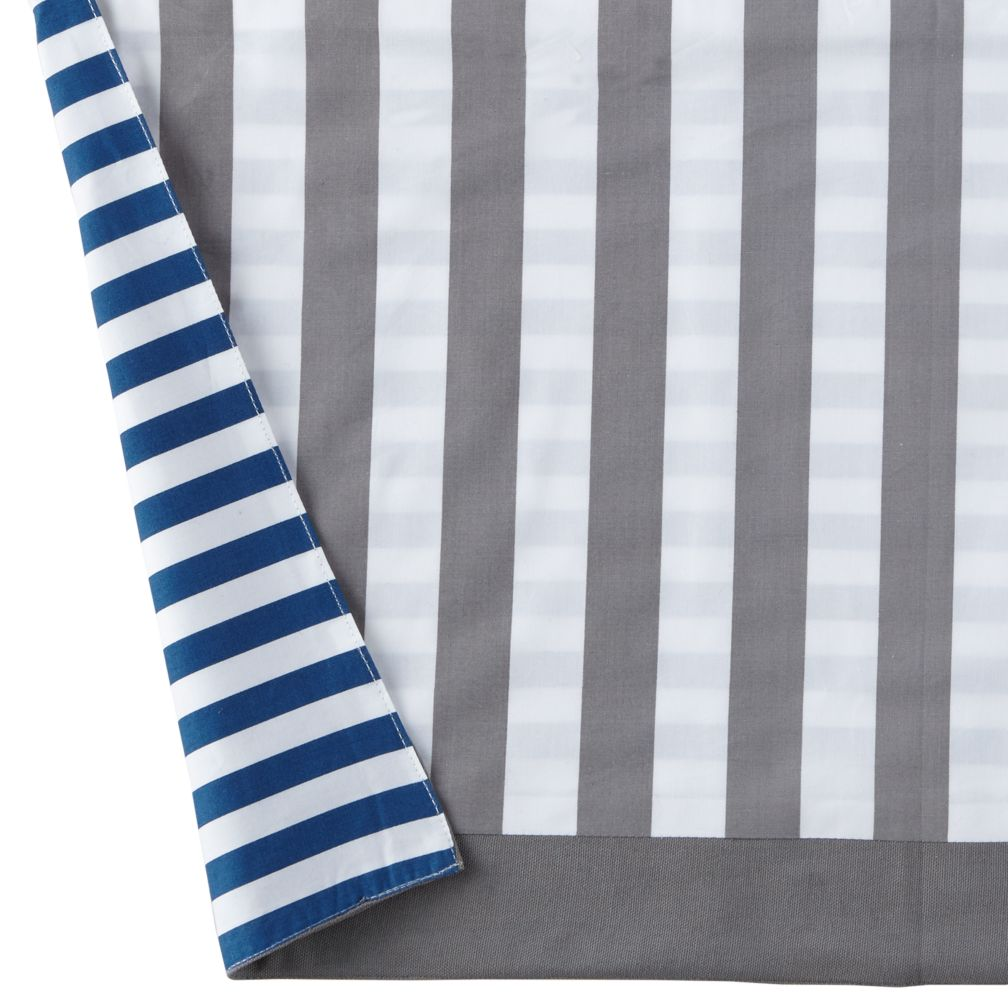New School Reversible Crib Skirt (Blue/Grey)