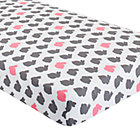 Grey & Pink Bunny Print Crib Fitted Sheet
