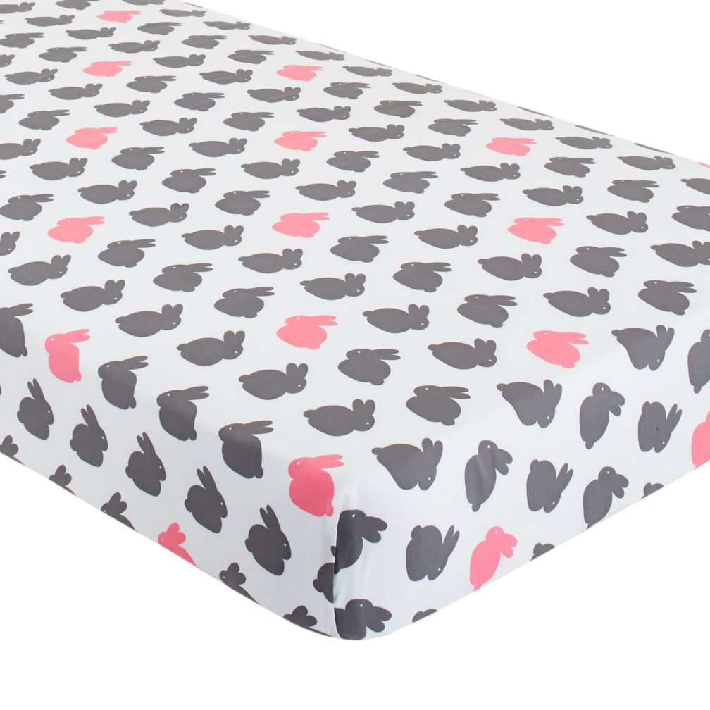 Crib Fitted Sheet (Pink Bunny)