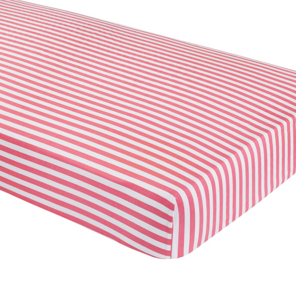 New School Crib Fitted Sheet (Pink Stripe)