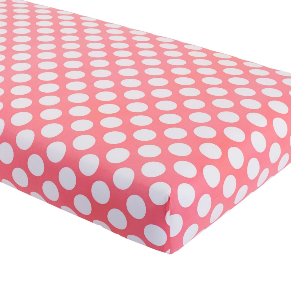 Crib Fitted Sheet (Pink with White Dot)