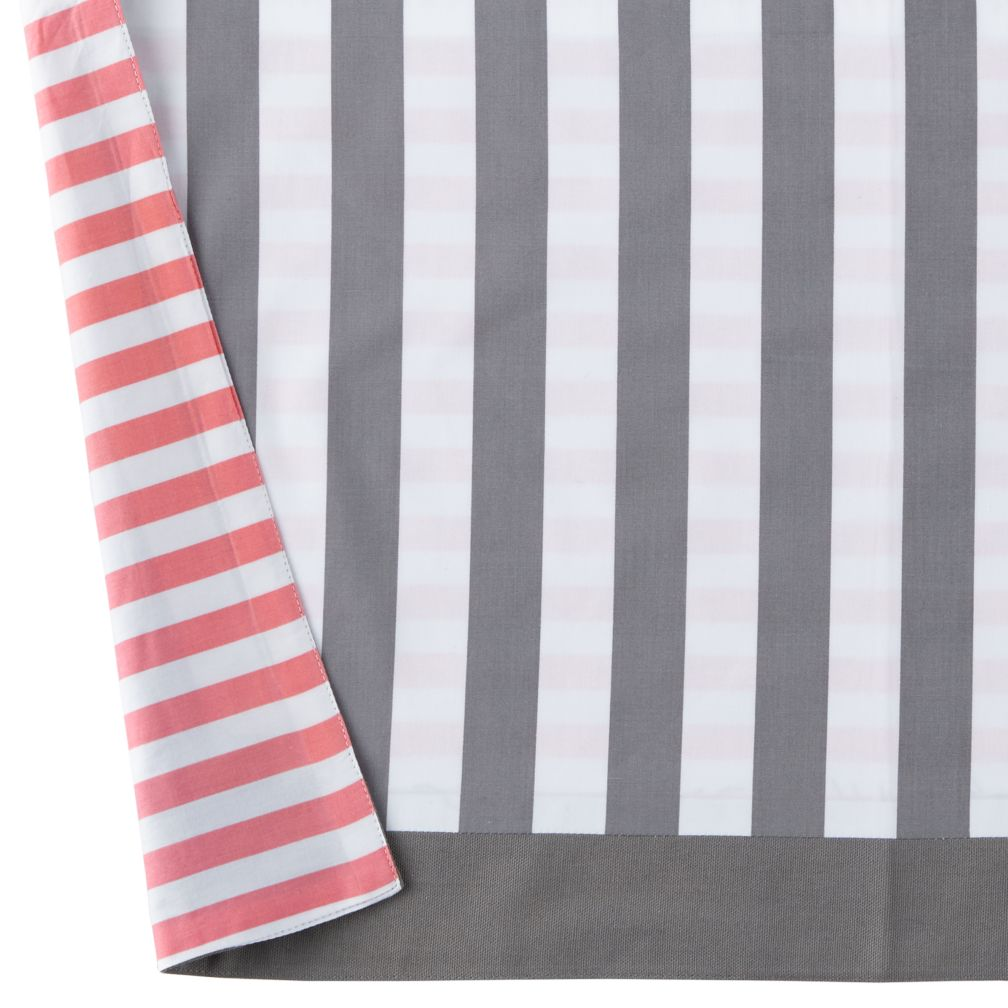 New School Crib Skirt (Pink/Grey)