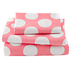 Toddler Pink Dot Sheet Set  (includes 1 fitted sheet, 1 flat sheet and 1 case)