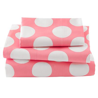 Hop to It Toddler Sheet Set (Pink w/White Dot)