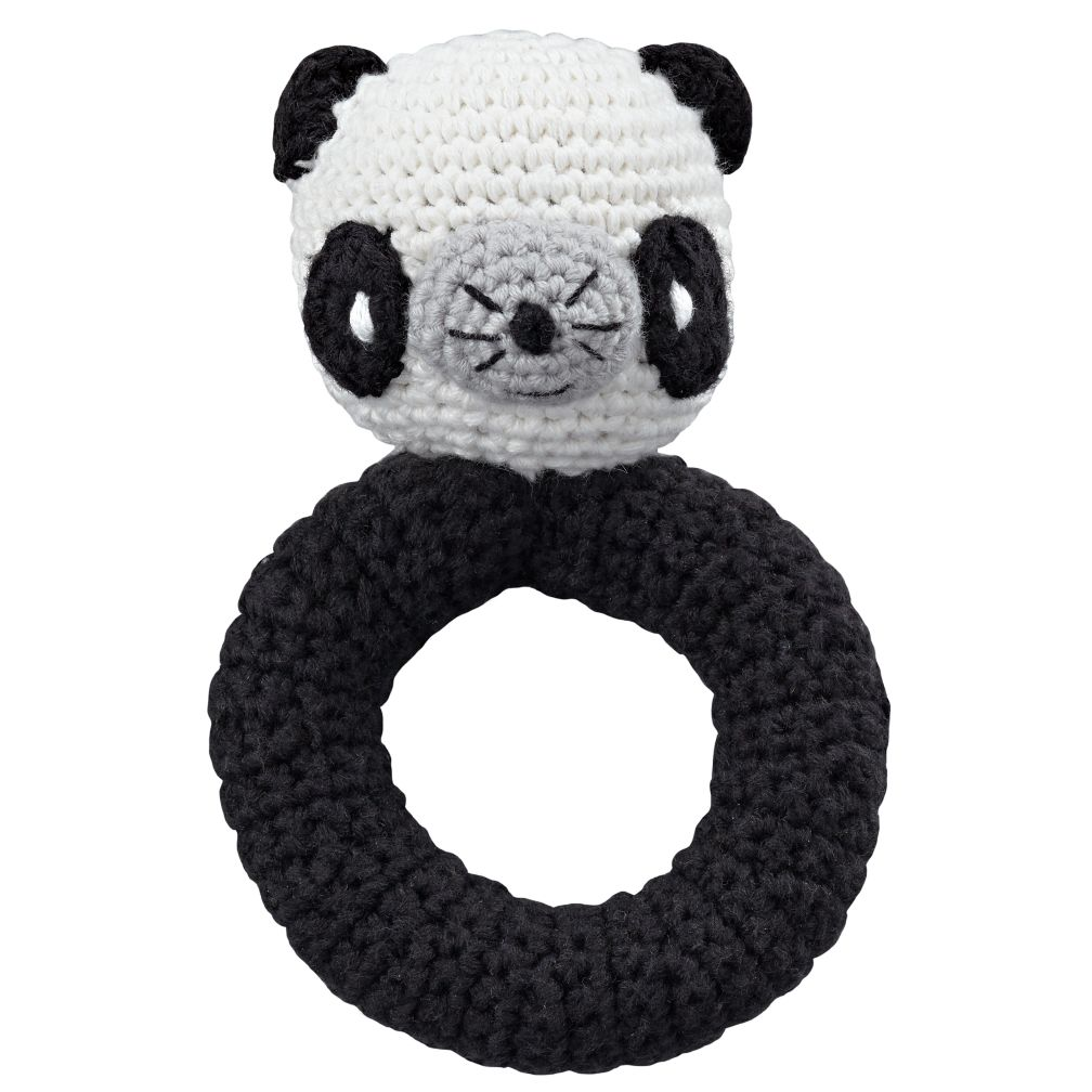 Panda Animal Knit Rattle