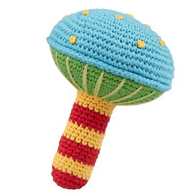 Blue Knit Mushroom Rattle