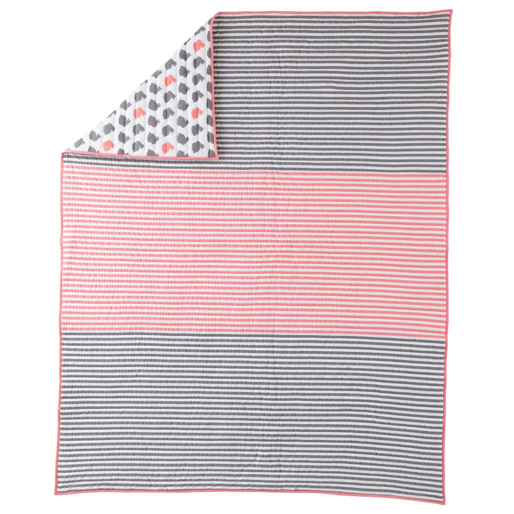 Twin Pink Stripe Quilt