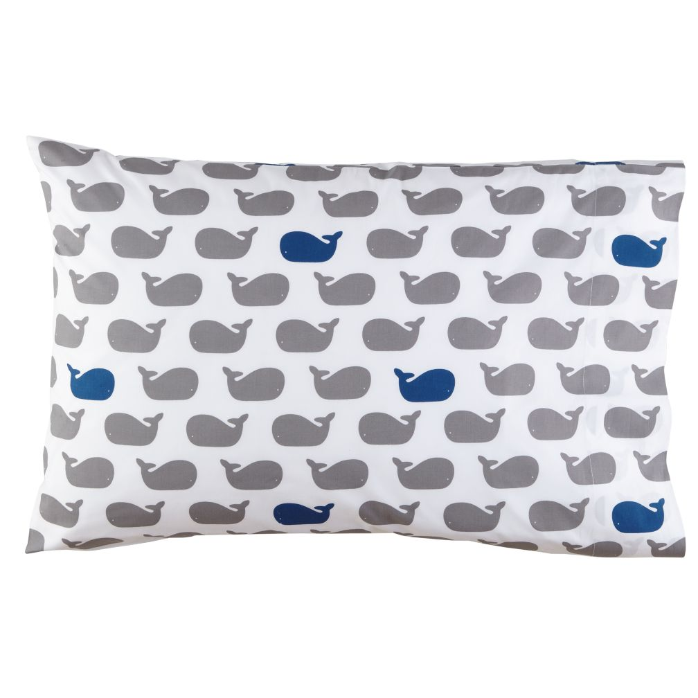 Blue Whale Print Pillowcase
