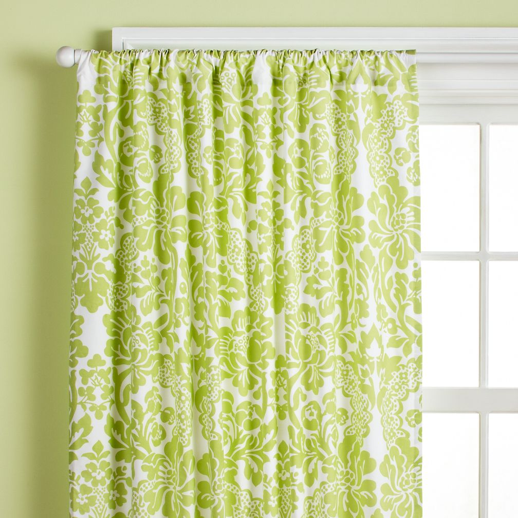 "84"" Wallpaper Floral Curtain Panel (Green)"