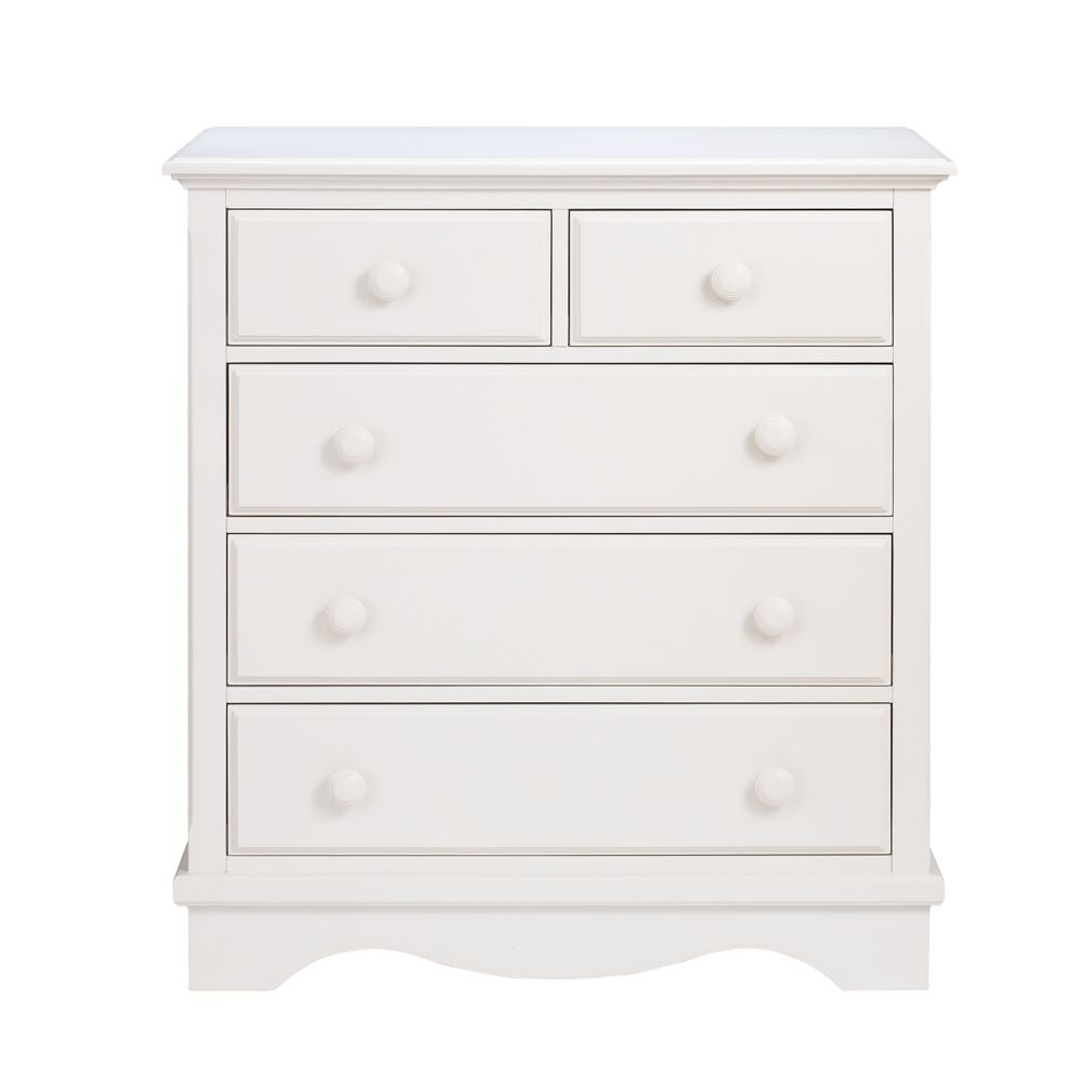 White 2-Over-3 Dresser