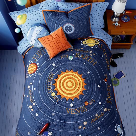 kids 39 bedding blue solar system quilt the land of nod. Black Bedroom Furniture Sets. Home Design Ideas