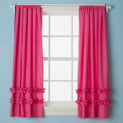 Ruffle Curtain Panels (Hot Pink)