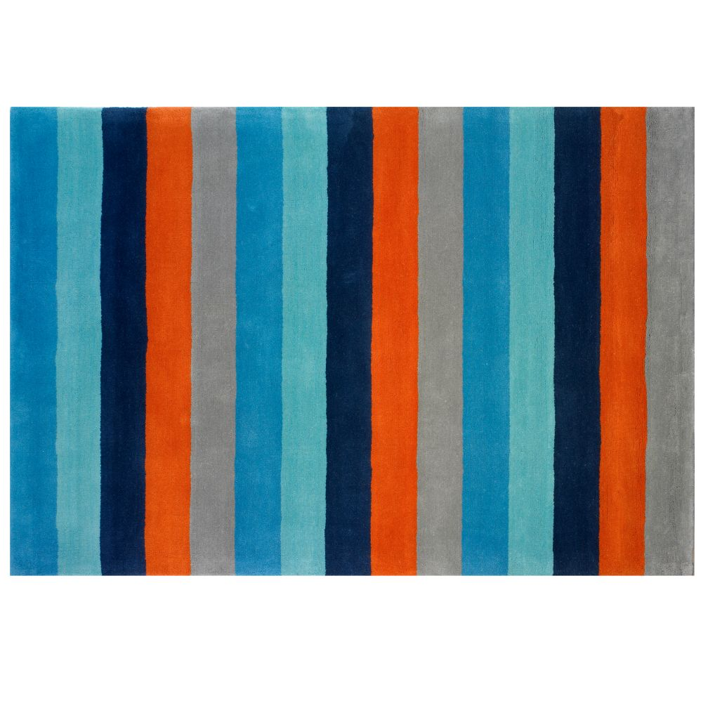 4 x 6&#39; Bold Stripe Rug (Blue-Orange)