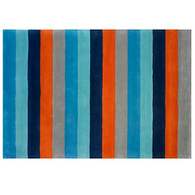 Bold Stripe Rug (Blue-Orange)