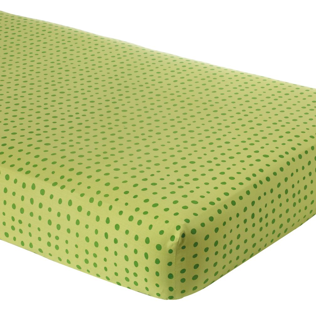 Crib Fitted Sheet (Green With Green Dot)