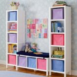 5-Cube Bookcase &amp; 3-Cube Bench (White)
