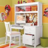 Simple Desk & Hutch (White)