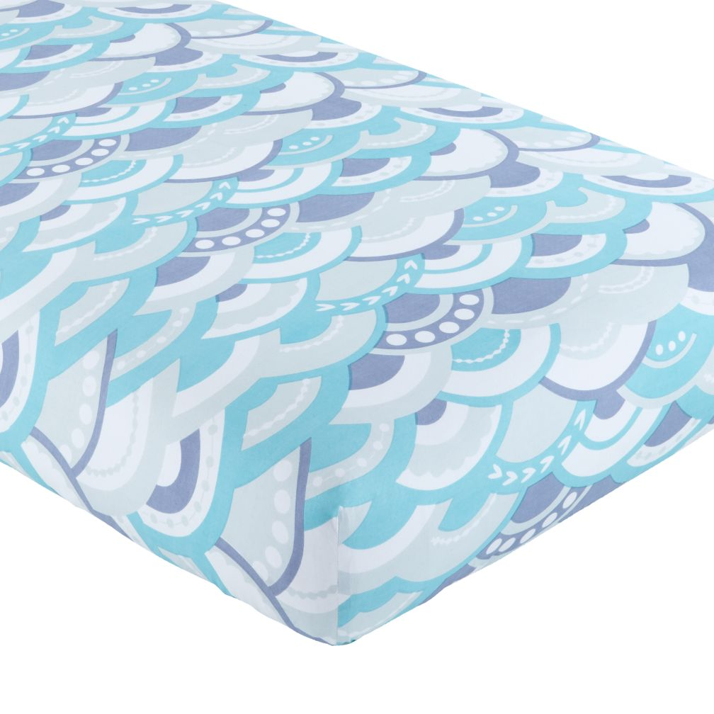 Marine Queen Crib Fitted Sheet (Blue Waves)