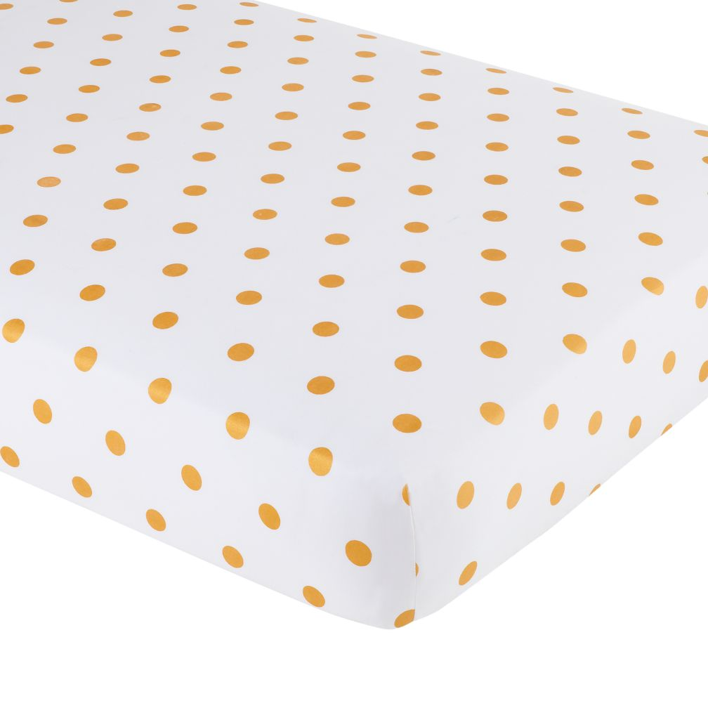 Crib Fitted Sheet (Gold Dot)
