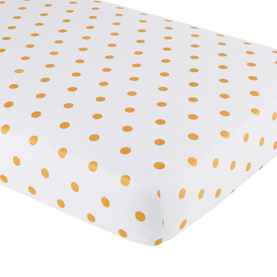 Baby Sheets Gold Dotted Crib Fitted Sheet The Land Of Nod