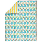 Blue & Yellow Elephant Stripe Crib Quilt