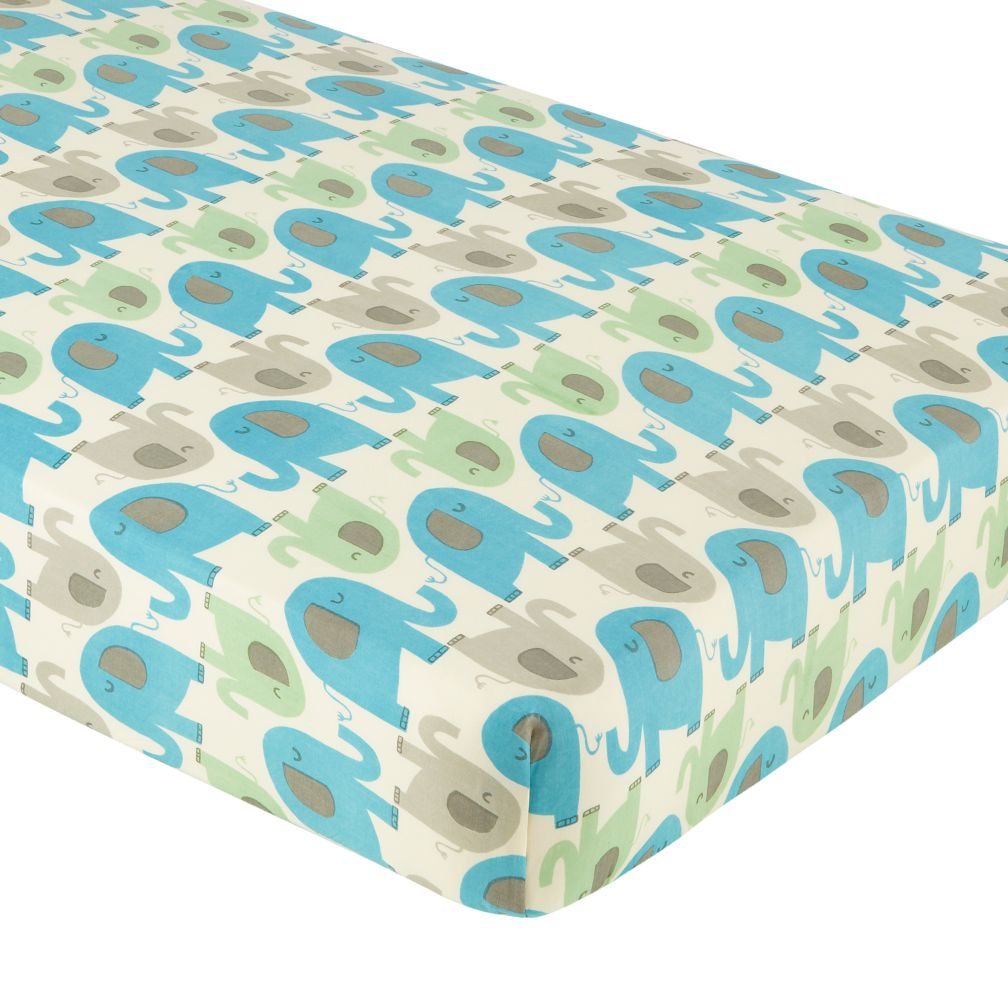 Crib Fitted Sheet (Lt. Blue Elephant Print)