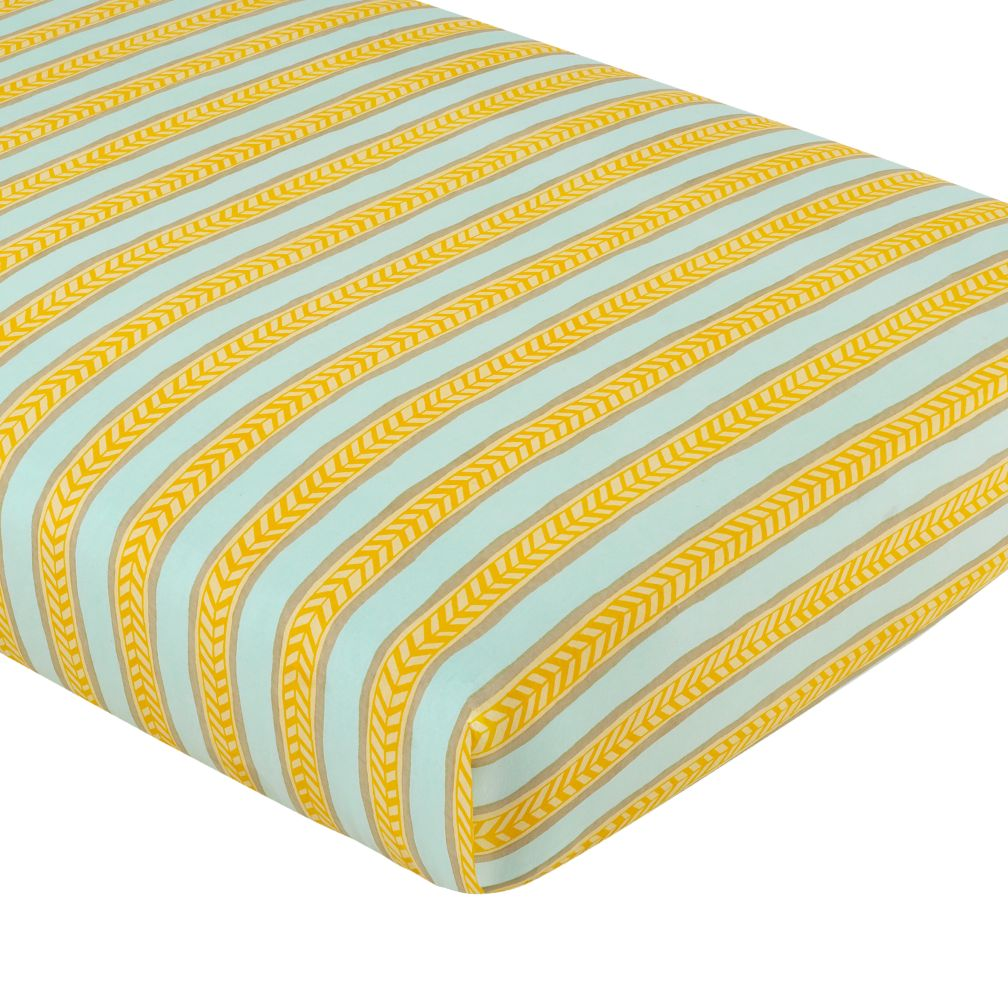 Crib Fitted Sheet (Yellow-Lt. Blue Stripe)