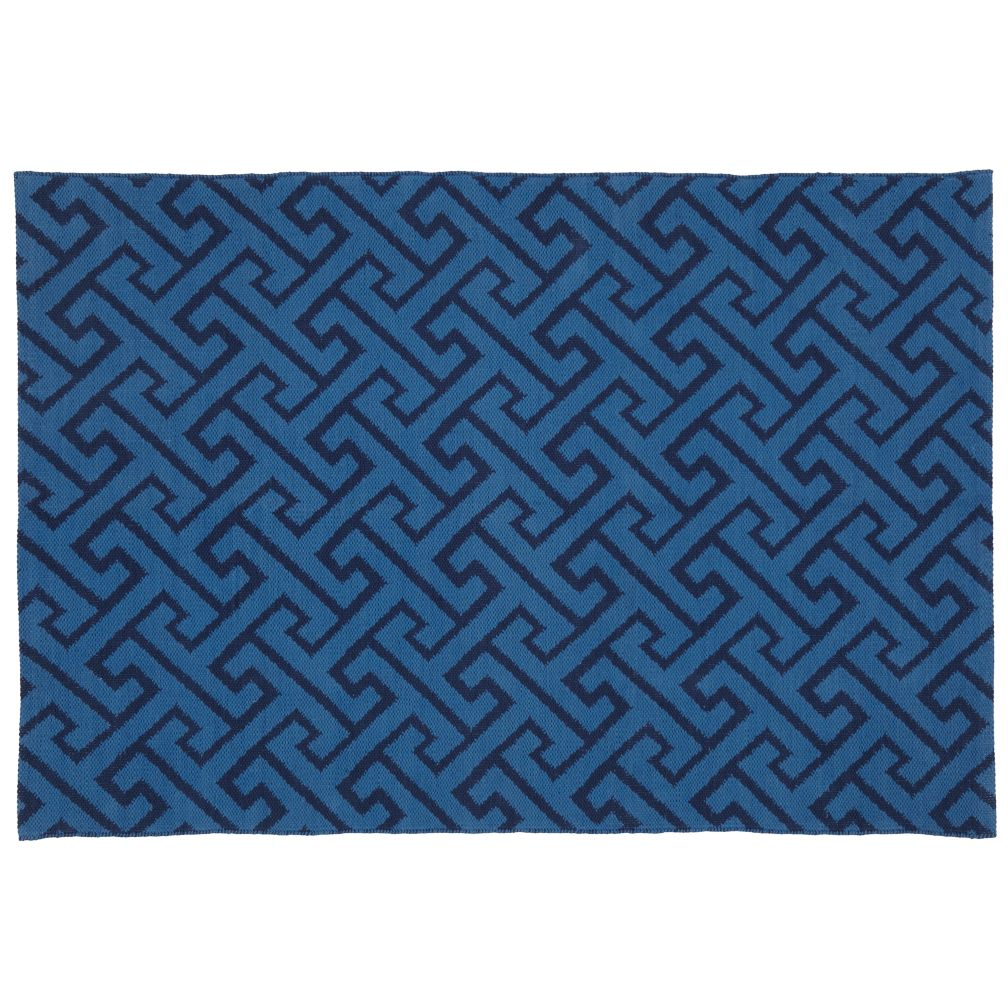 4 x 6&#39; Locking Blocks Rug (Blue)
