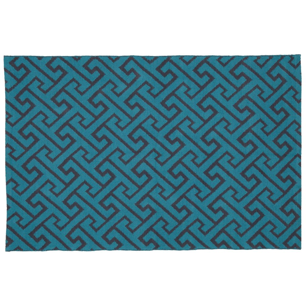 4 x 6' Locking Blocks Rug (Teal)