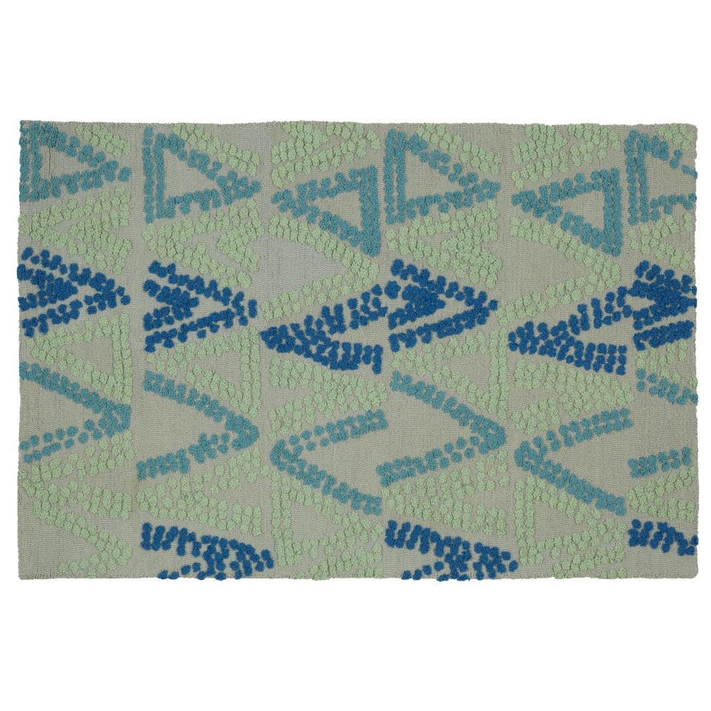 5 x 8&#39; Evergreen and Blue Rug