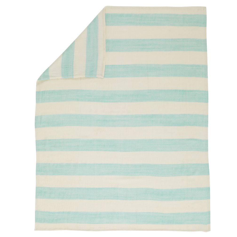 Aqua Striped Baby Blanket
